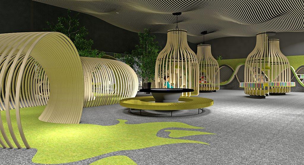 Projekt strefy zabaw dla dzieci wraz z kawiarnią dla rodziców